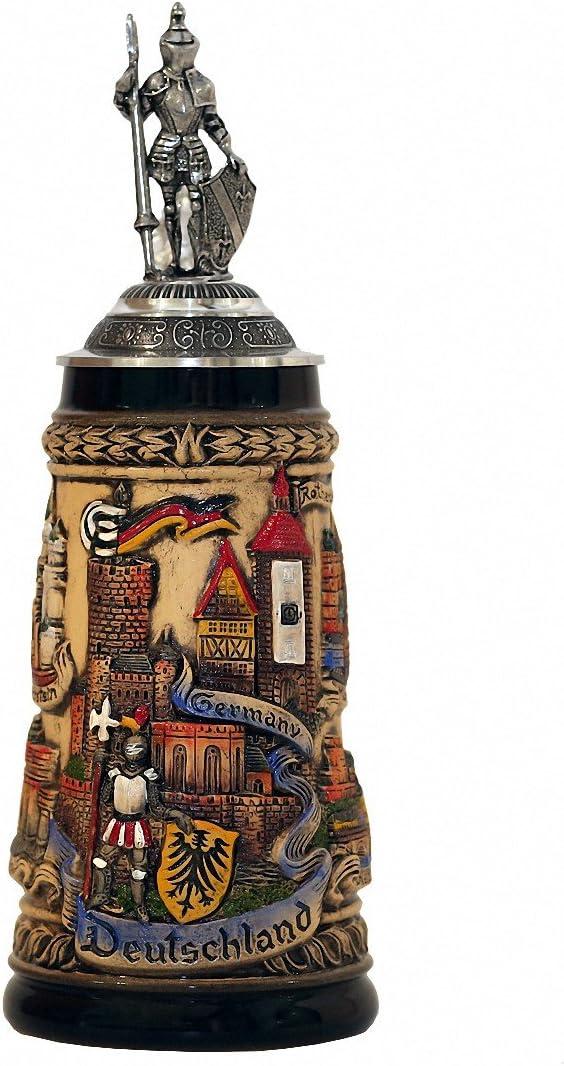 Zöller & Born Jarra de Cerveza Alemana Alemania rústica con una tapadera de estaño y una Figura Hecha de estaño, Jarra 0,5 litros ZO 1746/9013
