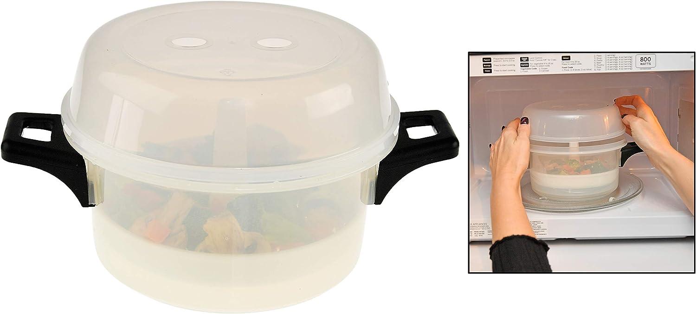 HOME-X Microwave Vegetable Steamer Pot, BPA Free, Dishwasher Safe, Meal Cooker –- Clear