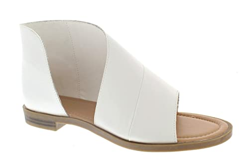 huge discount 42f7b e162e 385 Fifth Donna Women's Faux Leather Asymmetrical Sandal Open Toe Flats  Half D'Orsay Low Heel Shoes