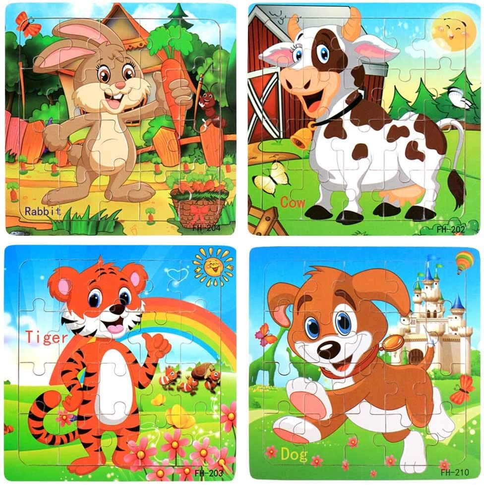 Wooden Jigsaw Puzzles Set for Kids Age 3-5 Year Old 20 Piece Animals Colorful Wooden Puzzles for Toddler Children Learning Educational Puzzles Toys for Boys and Girls (4 Puzzles) 71k2Bn8HiJwL