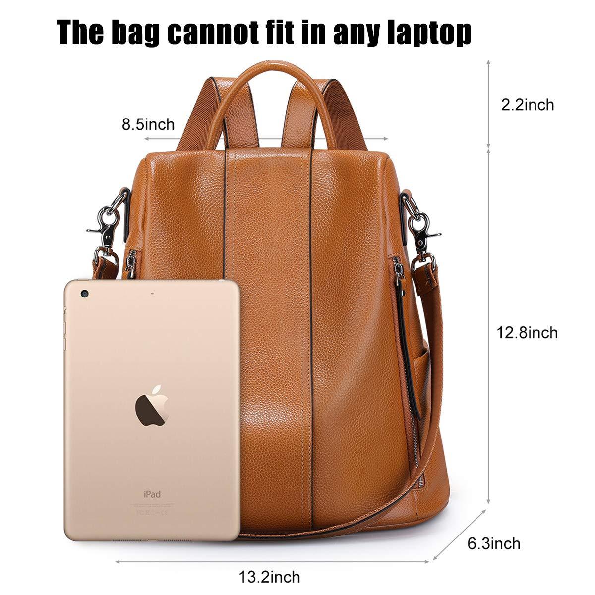 S-ZONE kvinnor mjuk läder ryggsäck stöldskydd handväska damer vattentät ryggsäck skolväska Brun