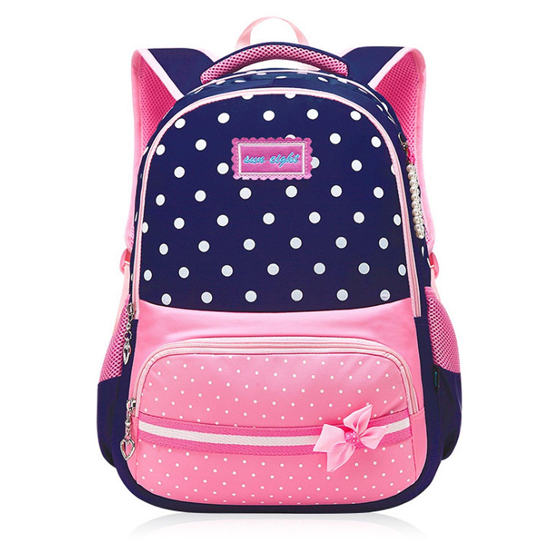 Greeniris Kids Cute Waterproof Nylon School Backpack for Teenage Girls 3pcs