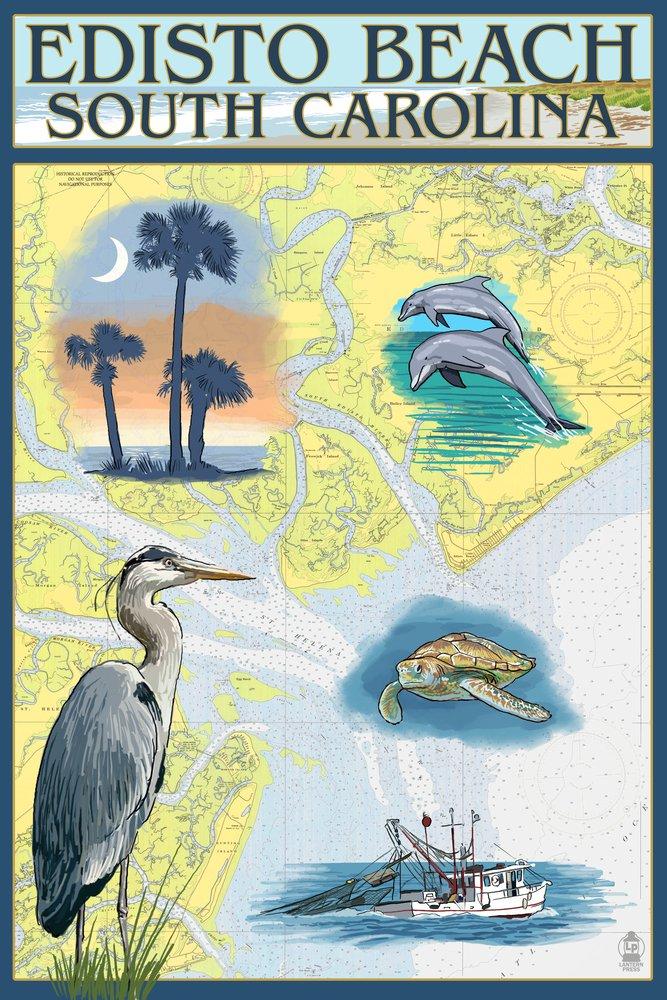 Edistoビーチ、South Carolina – Nautical Chart 36 x 54 Giclee Print LANT-40944-36x54 36 x 54 Giclee Print  B017E9W3LS