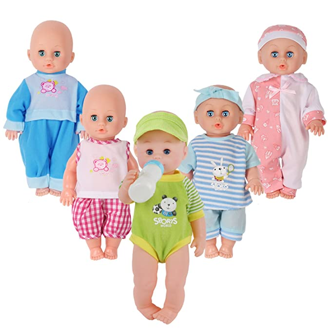 Review Set of 5 for 11-12-13 Inch Newborn Reborn Alive Doll Baby Doll Clothes Costumes Gown Outfits with Feeding Bottle Birthday Xmas Present Wrap
