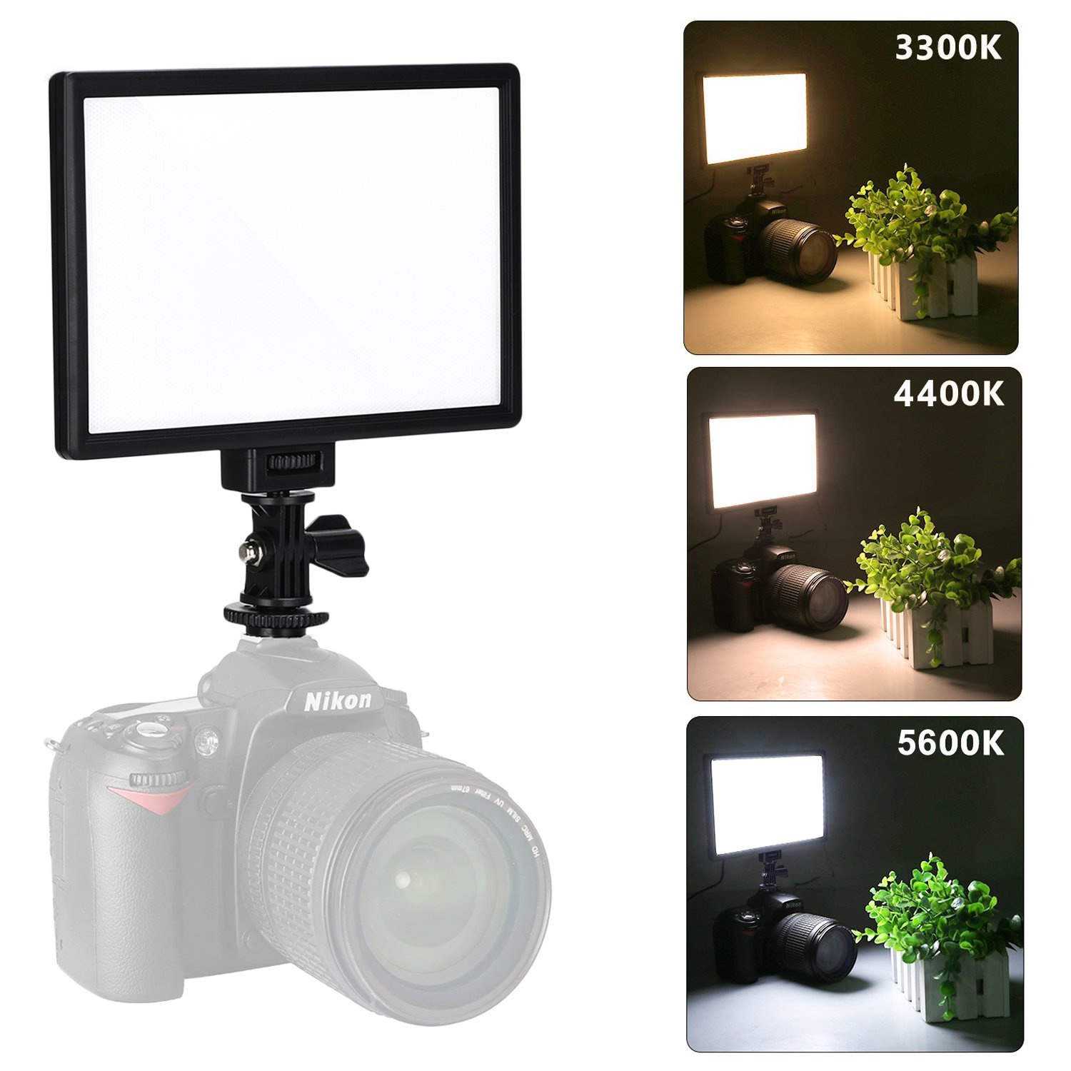 VILTROX L116T RA CRI95 Super Slim LED Light Panel ,3300K-5600K LED Video Light , LCD display screen, with hot shoe ball mount,Color temperature and Brightness can be adjusted by VILTROX