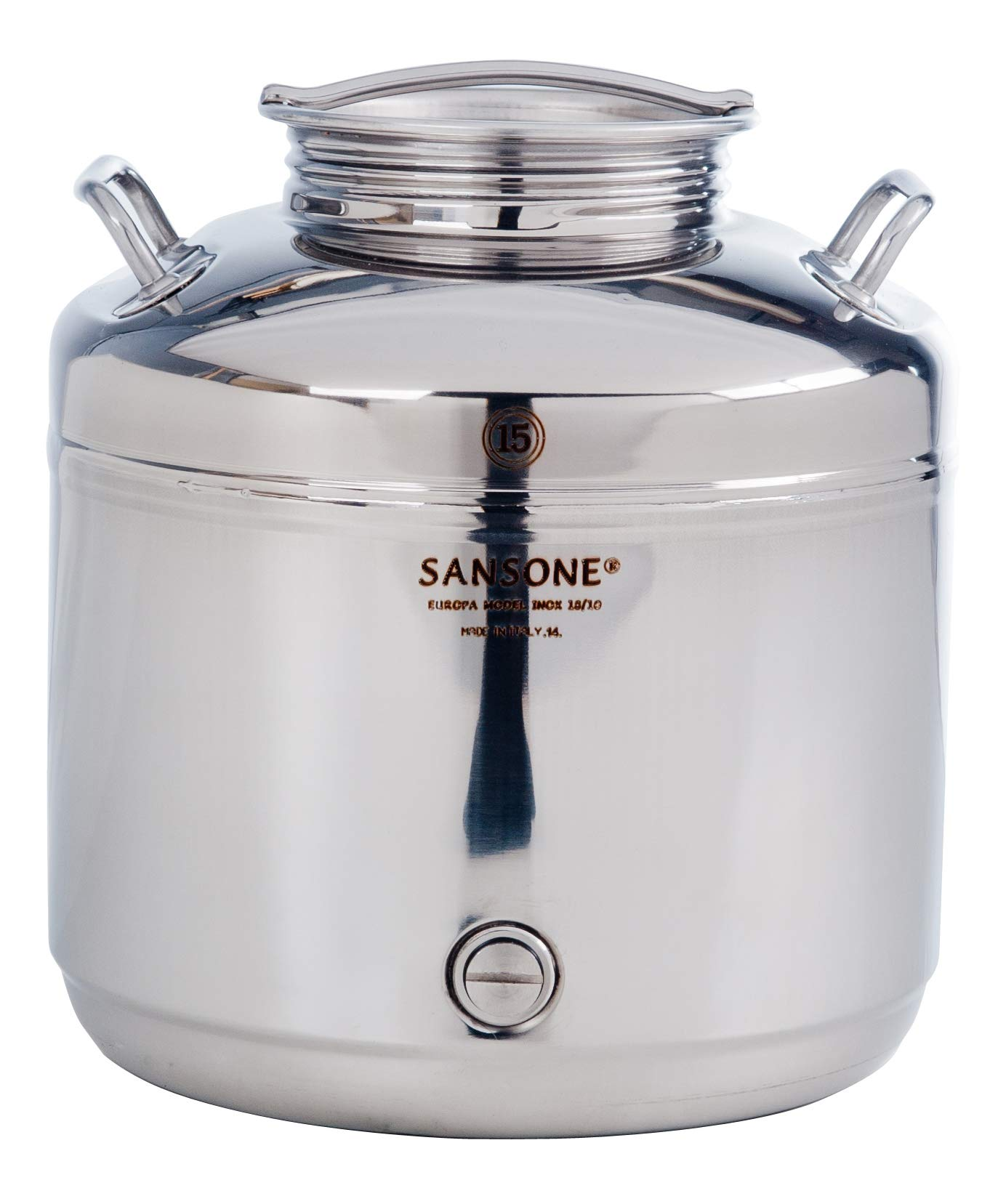 Sansone SA0015-1L Stainless Steel NSF Certified Fusti Water Cooler with Lever Spigot, 15 Liters, Silver