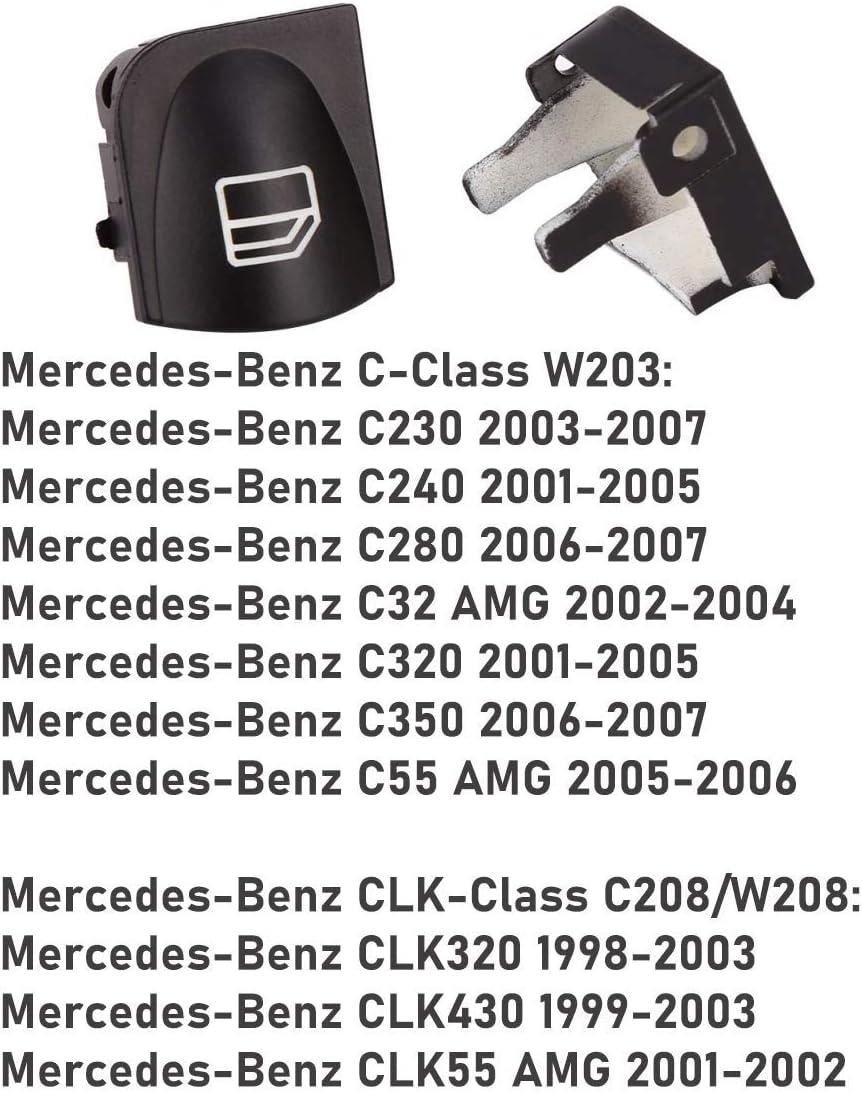 Droite Bouchons de Bouton de R/éParation de Commutateur de Fen/êTre Monland Couvre-Bouton de Commutation de Fen/êTre pour Mercedes W203 W208 C CLK Classe Avant Gauche