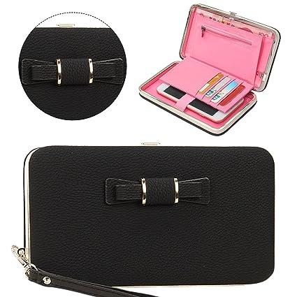 aa8fc0901a86 Amazon.com: Naomi Women Bowknot Wallet Long Purse Phone Card Holder ...