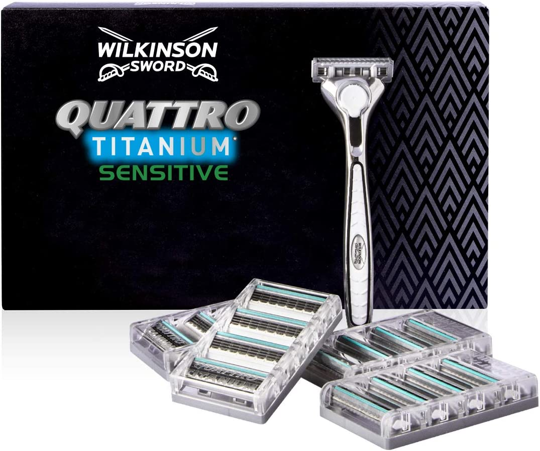 Wilkinson Sword Pack Ffp ECO box Quattro Titanium - Kit de maquinilla de afeitar de 4 hojas de Titanio para hombre + 17 recambios de cuchillas, afeitado manual masculino