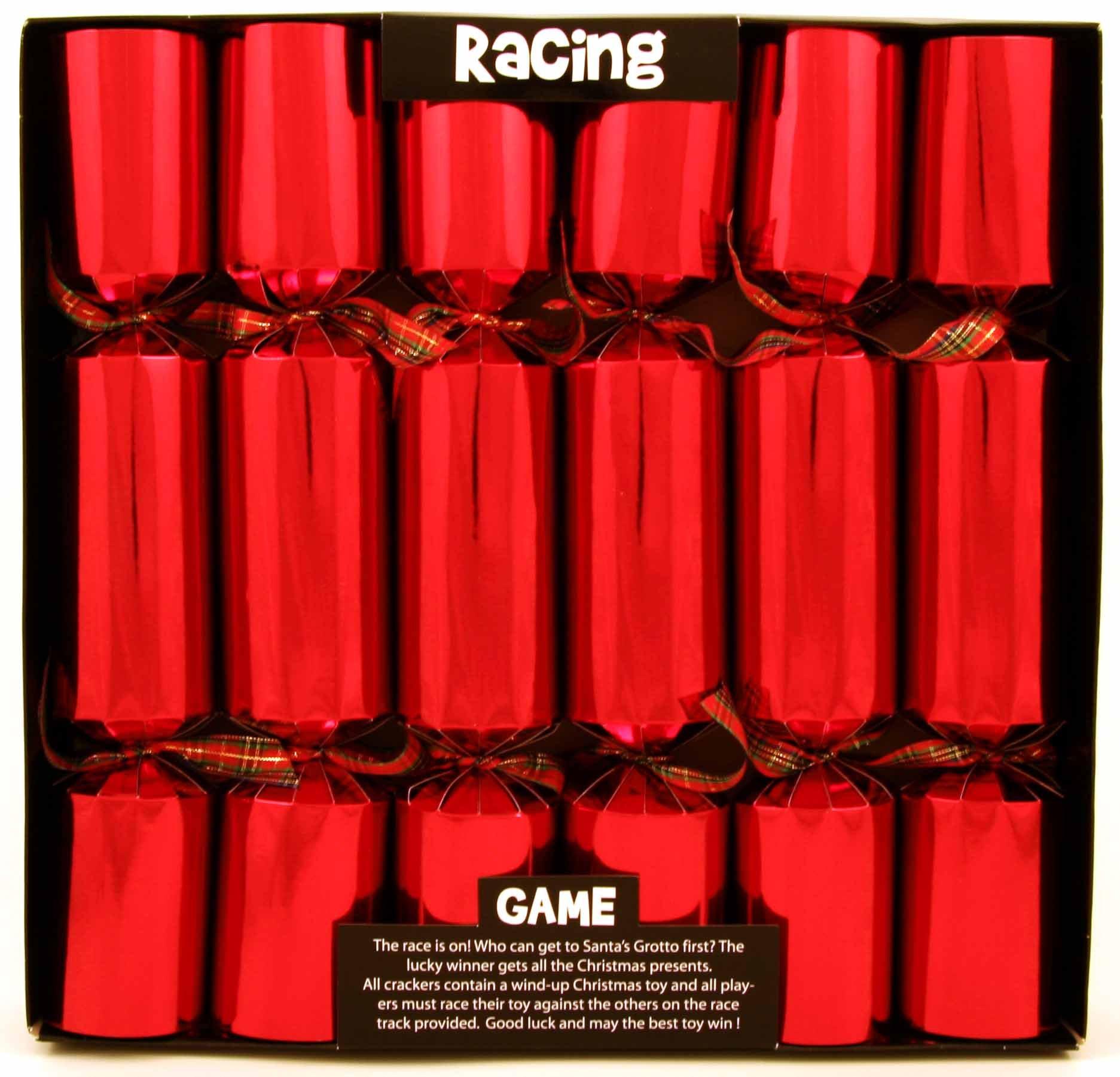 Kuckoo Crackers - 6 x 12.5-inch Race to Santa's Grotto Clockwork Christmas Crackers