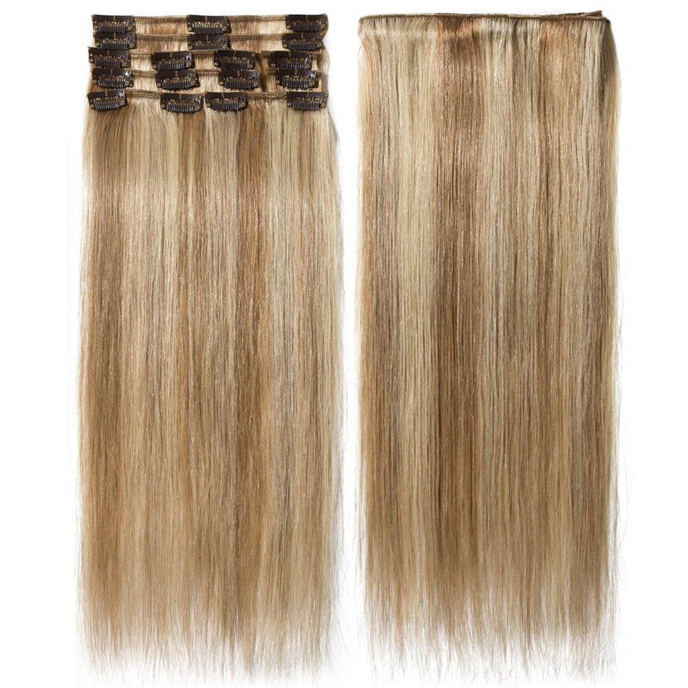 Extension Capelli Veri Clip Mèches 8 Fasce Remy Human Hair Extensions Clip Lisci Lunga 20 pollici 50cm Pesa 70grammi, #12/613 Marrone Chiaro/ Biondo Rich Choices
