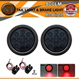 """TMH 2pcs 4"""" 12 Super Bright LED Stop Tail Turn Brake Light Smoked Lens Red Assembly Rubber Mount Grommet for Trucks Trailers"""