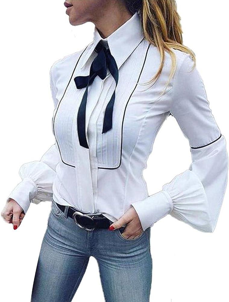 Camisas Mujer Elegantes Blancas Blusas De Corbata De Oficina Tops ...