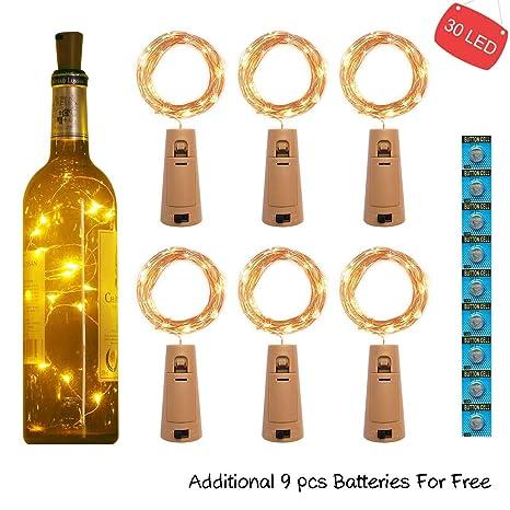 kolpop 3m 30 LED Luces Botella (6 Pack), Luces LED a Pilas Decorativas Flexible de Alambre de Cobre Luz para Entorno Romántico en Boda, Fiestas, ...