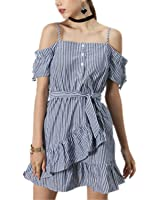SuperBlu Sexy NEW summer off shoulder cami bow belt waisted ruffles women striped dress vestido