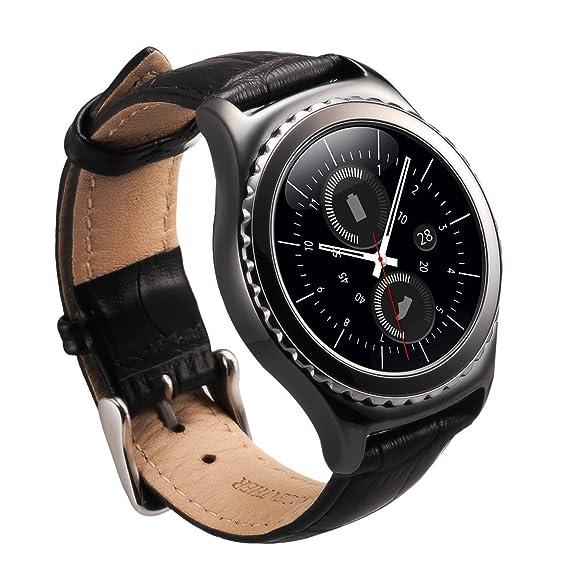 Correa de reloj universal con hebilla de acero inoxidable y correa de cuero de bambú de