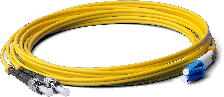 Fibre Optic Cable 3 Metres 3m OS2 Yellow LC//UPC to ST//UPC Male Duplex 9//125 Patch Cable Fibre Optic Cable