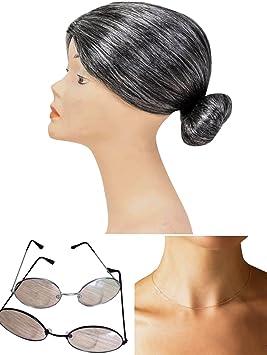 thematys® Abuela Abuelita Peluca + Gafas + Collar - Disfraz de Adulto - Perfecto para