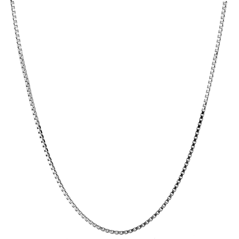 Lifetime Jewelry ペンダントネックレス 1.4mm ボックスチェーン ホワイトゴールド ロジウムメッキ 細身 チャーム用 16~30インチ シルバー 26.0 インチ  B07D9GPCYX