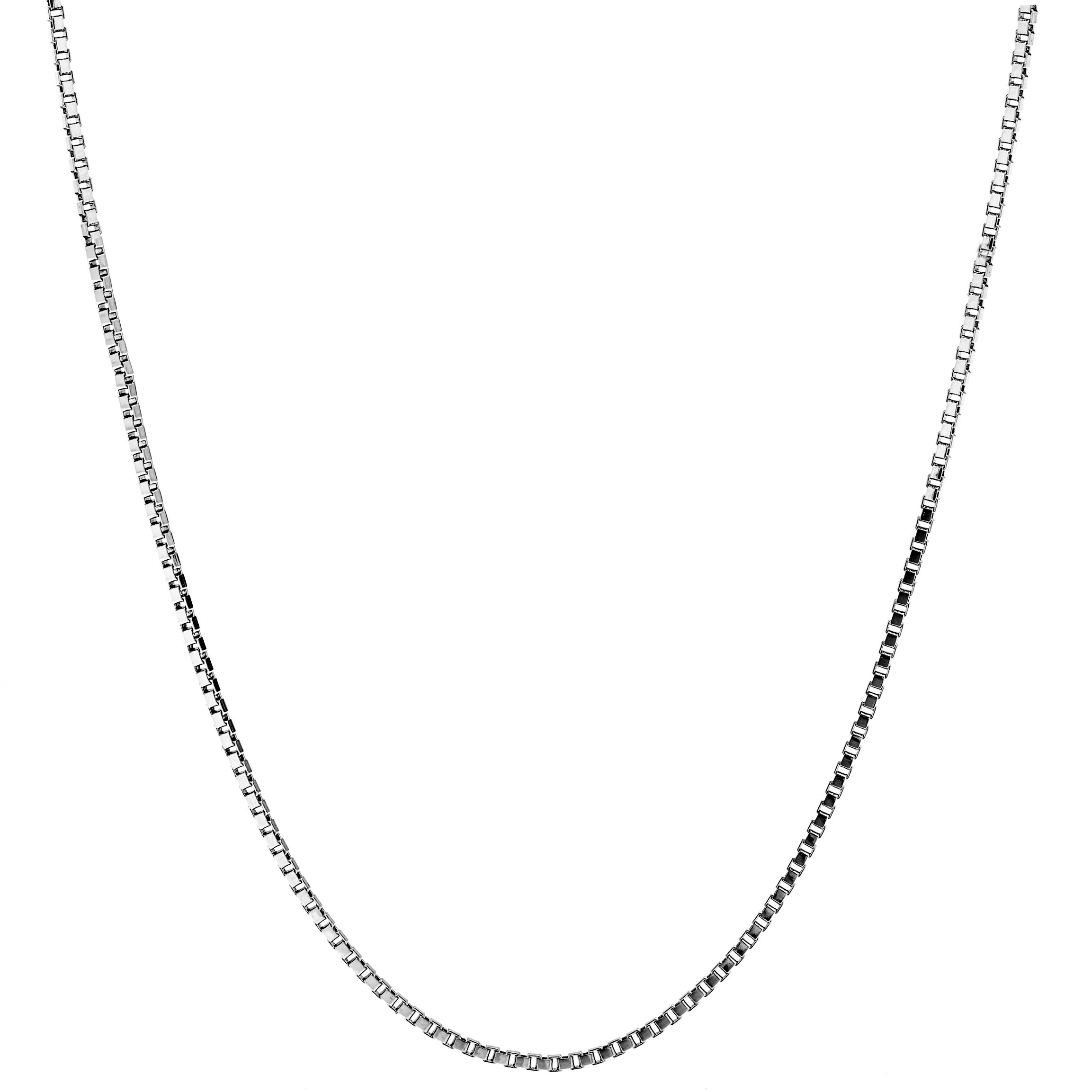 Lifetime Jewelry Pendant Necklace 1.4mm Box Chain of White Gold Rhodium Plated Made Thin for Charms 20 Inches
