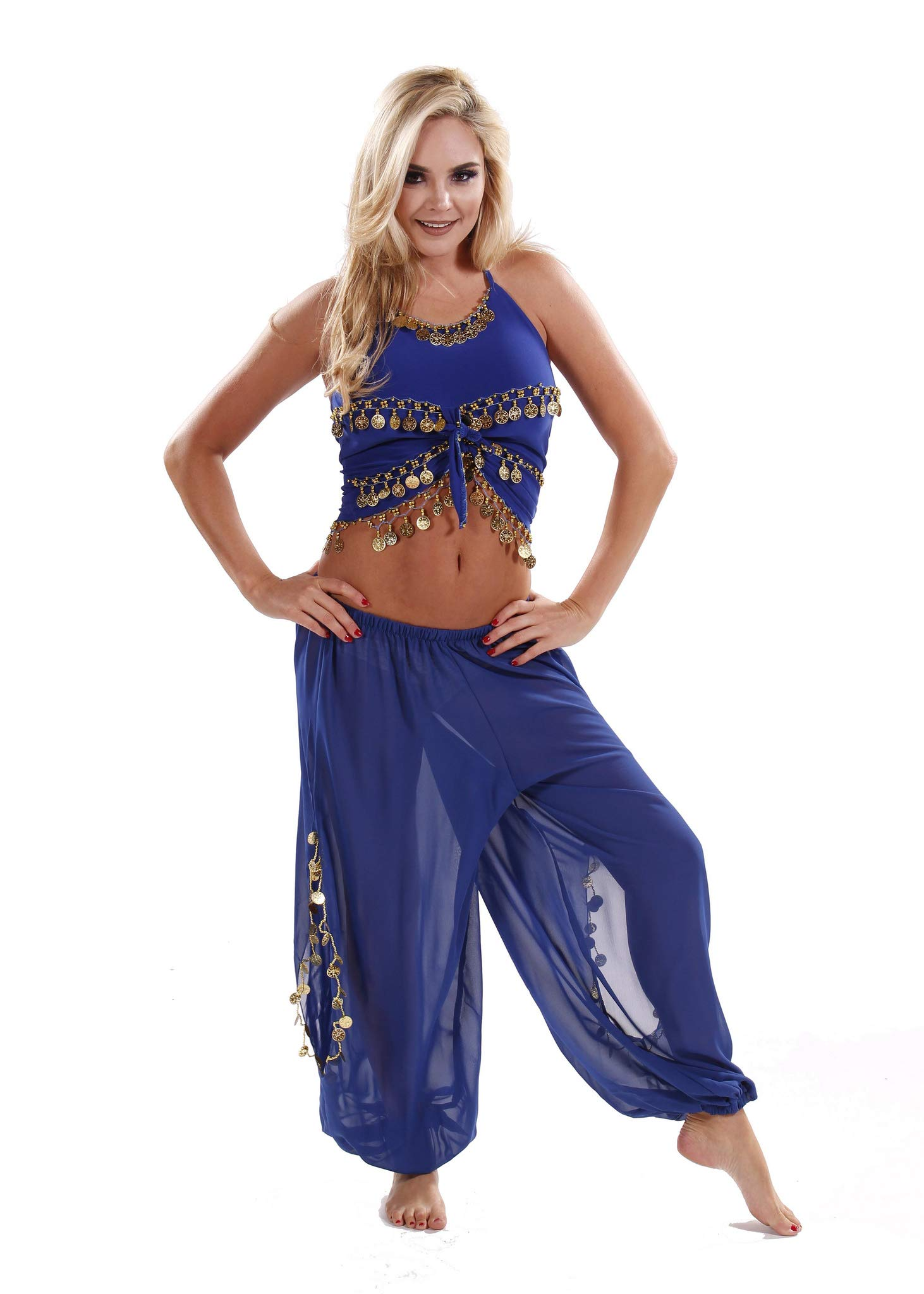 MissBellyDance Harem Pant & Tank Top Belly Dancer Costume Set | SADIQA (Royal Blue/Gold, Small)