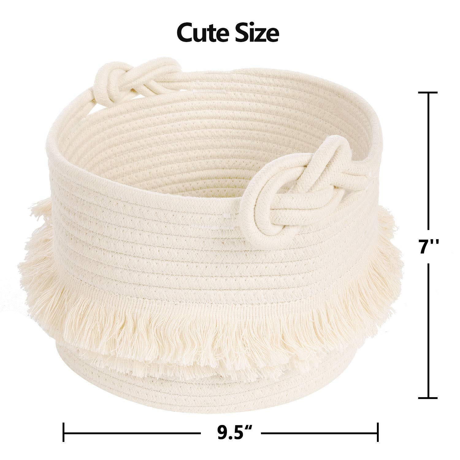 Home Storage Container Cute Tassel Nursery Decor Small Woven Storage Baskets Cotton Rope Decorative Hamper for Diaper 9.5/'/' x 7/'/' Blankets Magazine and Keys 9.5 x 7 Cute Tassel Nursery Decor Home Storage Container