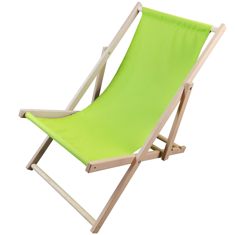 Colore:Verde Sedia Portatile Regolabile su 3 Livelli per Giardino Spiaggia Diluma Sdraio in Legno Pieghevole per Spiaggia Sunny Balcone o Campeggio