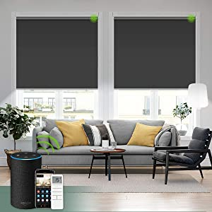 Yoolax Motorized Blind Shade for Window with Remote Control Smart Blind Shade Compatible with Alexa Motorize Roller Shade Blackout Battery Solar Powered Blind Custom up 98''W X 138''H(Vinyl-Dark Gray)