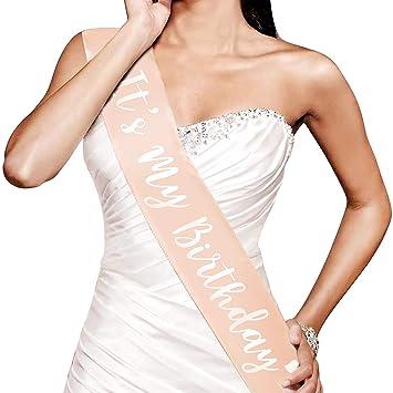 Konsait Oro Rosa cumpleaños Faja, Its my Birthday Banda de satén para niña Mujer 16 18 21 30 40 50 60 Años cumpleaños Fiesta de Decoración Accesorios ...