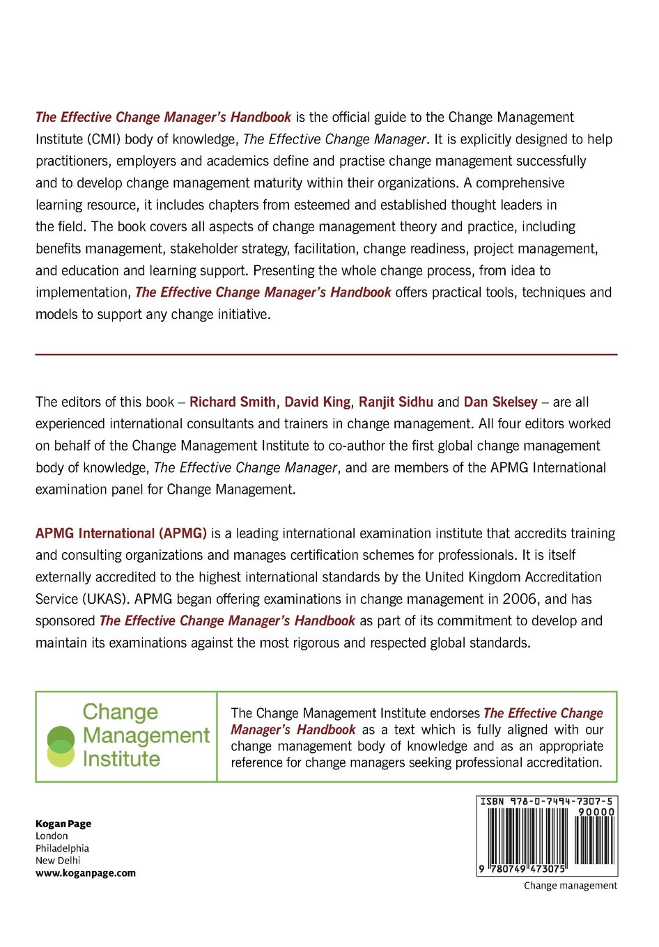 The Effective Change Manager's Handbook: Essential Guidance to the Change  Management Body of Knowledge: Amazon.co.uk: Richard Smith, David King, ...