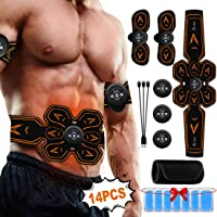A-TION Abs Stimulator Abdominal Muscle Trainer, 3 in 1 USB Chargeable EMS Belt with 6 Modes Current, Workout Equipment for Home (Include 14pcs Gel Pad + Training Belt)