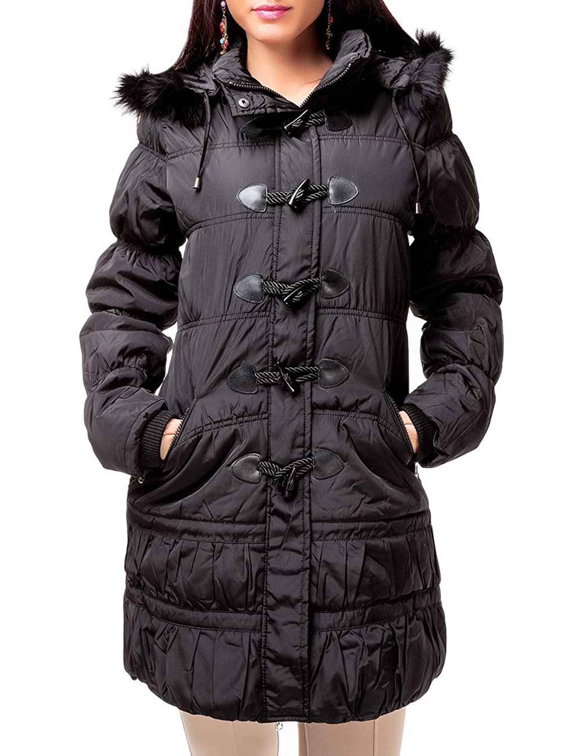 24brands CHICK REBLLE - Damen Winterjacke Dicke Jacke Mantel Steppmantel mit Kapuze & Fell - 2347