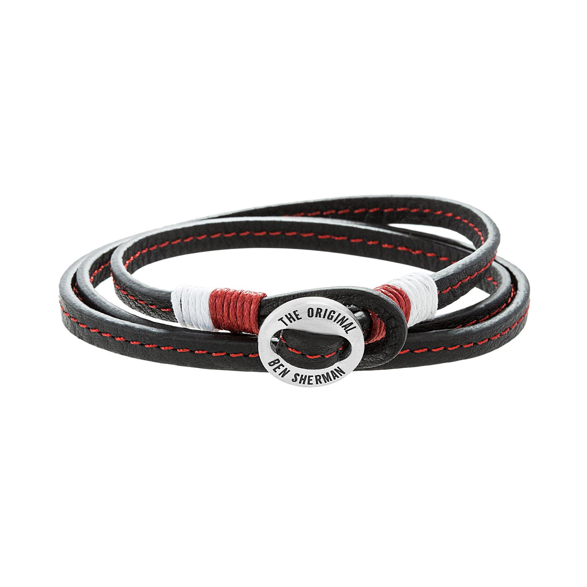 Ben Sherman Men's Stainless Steel Disc Red & White Cord Black Leather Wrap Around Bracelet