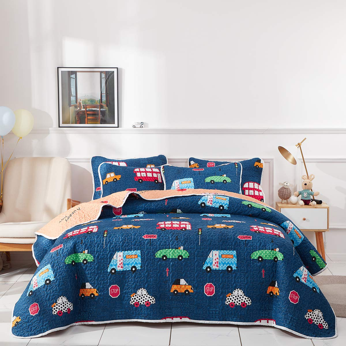 Uozzi Bedding 3 Piece Reversible Navy Quilt Set Queen Size 92x90 with Cars Bus Traffic Style Soft Microfiber Lightweight Coverlet Bedspread for Kids(1 Quilt + 2 Shams)