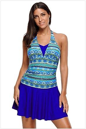 d7a81a0e80 BaronHong Aztec Print Halterneck One Piece Swimdress Swimsuit Women Bathing  Suit(Blue,S)