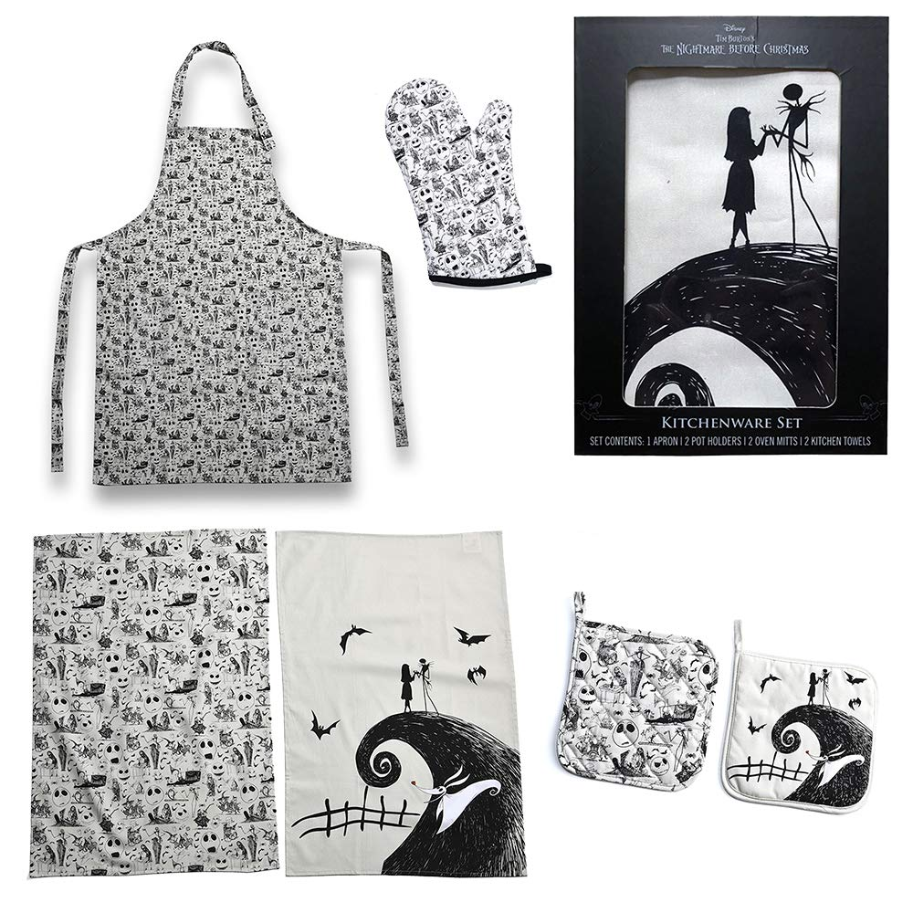 Seven Times Six Disney Nightmare Before Christmas Jack and Sally Baking Set (Apron, Towels, Mitts, and Pot Holders)