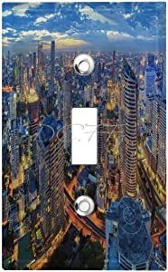 1-Gang Wall Plate Cover, Single Toggle Switch Cover New York City Skyline 180gsm Wall Decor Classic Beadboard Unbreakable Faceplate