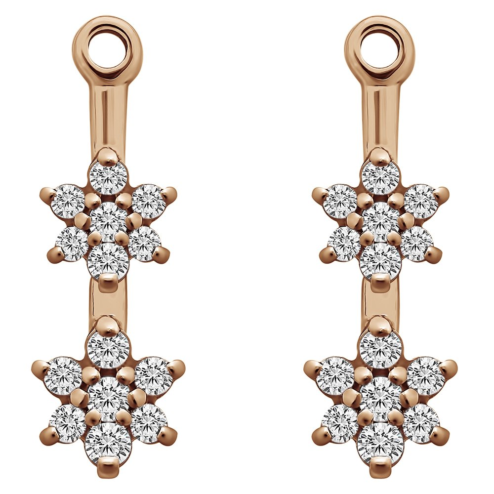 1/7 ct. Charles Colvard Created Moissanite Moissanite Flower Dangle Earring Jackets in Rose Gold Plated Sterling Silver (0.13 ct. twt.)