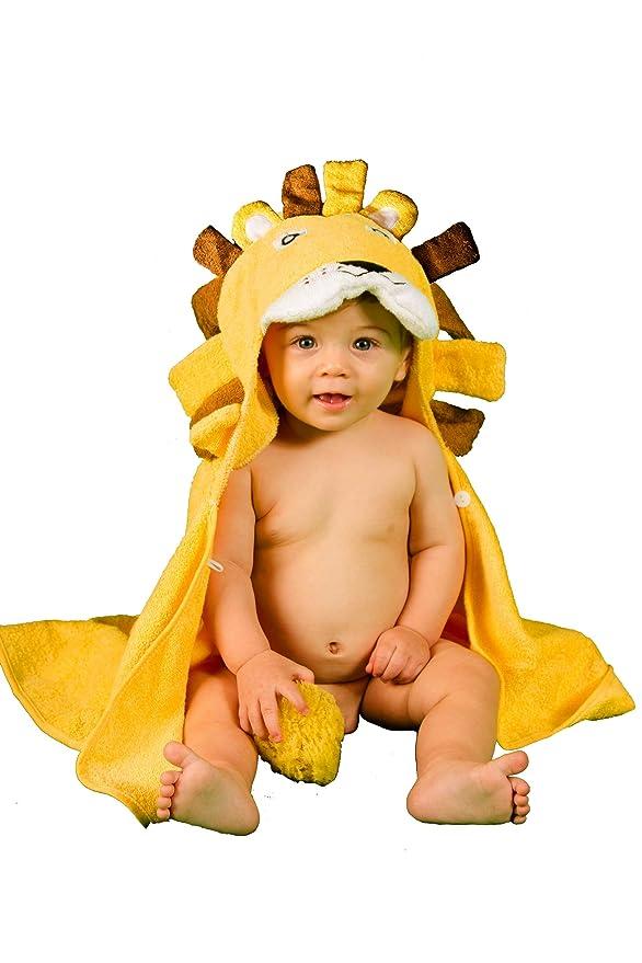 Años Albornoz Capucha Tridimensional León Super Absorbente Doble Espesor Ducha Piscina Baño 100% Algodón Orgánico alta calidad (amarillo)