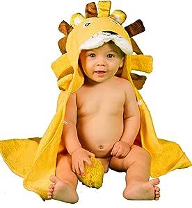Alenyk toalla niño bebe recién nacido 70X90 poncho de 0-2 años albornoz capucha tridimensional león absorbente ducha piscina baño algodón orgánico: Amazon.es: Bebé