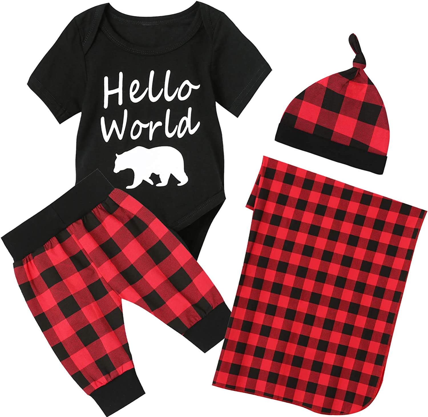 Newborn Baby Boy Outfit Infant Pant Clothing Set with Blanket