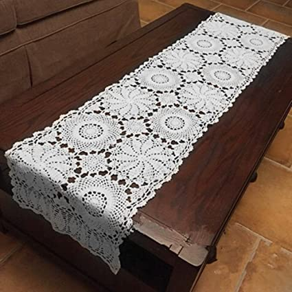 Amazon Com Abreeze Rustic Floral Table Runner Hand Crochet Table
