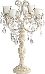 Dahlia Studios Aline Ivory Candelabra Style 4-Light Crystal Candle Holder