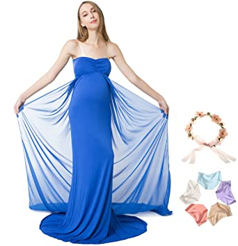 0c2758118fc Sannyway Photoshoot Maternity Dress Sleeveless Off Shoulder Photography Maxi  Gown (Blue, M)