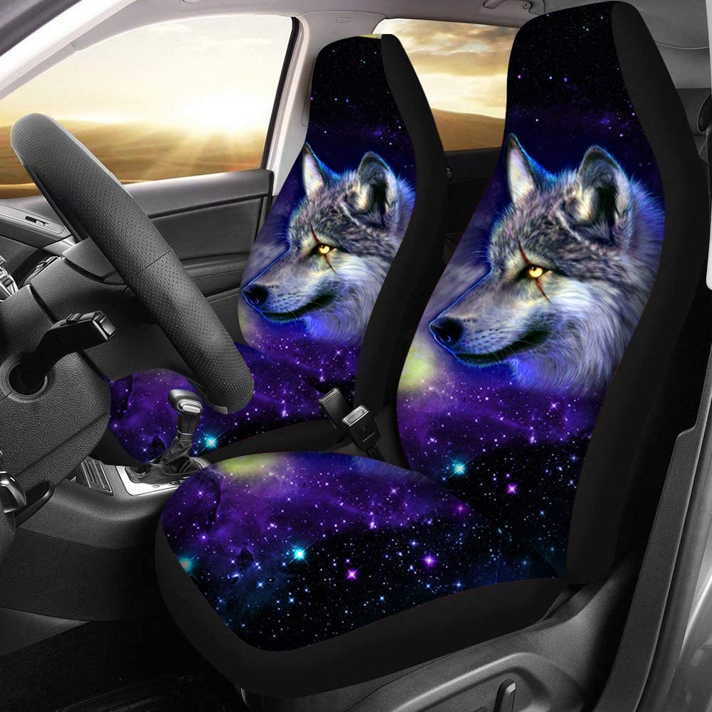 doginthehole 2-Pcs Tribal Horse Novelty Design Car Seat Covers for Women Girls,Boho Style Bucket Seat Protector Car Mat Covers Front Seat Only Full Set