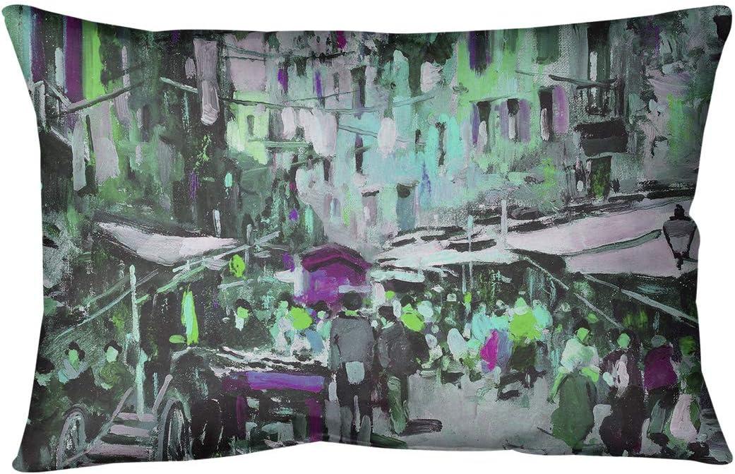 Amazon Com Artverse Felice Giordano Green Market In Naples Pillow W Removable Insert Spun Polyester 20 X 14 Home Kitchen