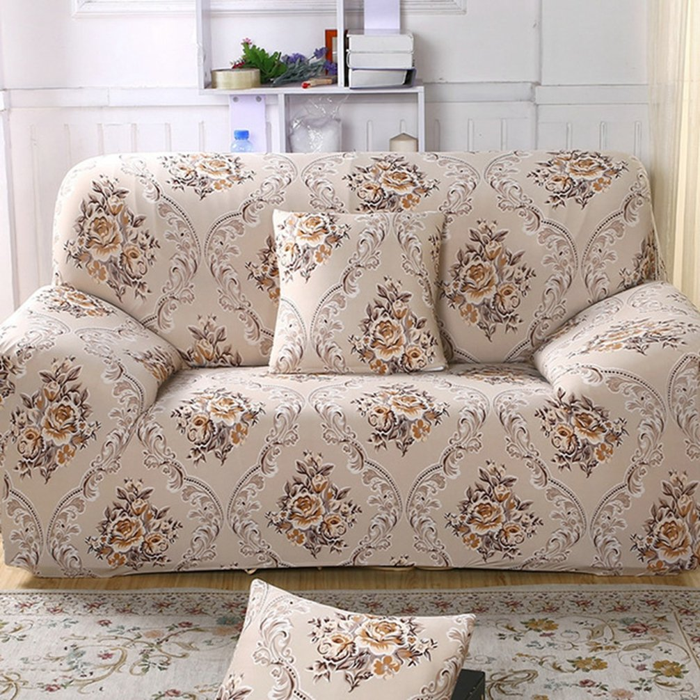 LVYING Furniture Protector Stretch Sofa Covers Non Slip Slipcovers Floral Towel Covering Elastic Sofa Couch Cover 1/2/3/4 Seater (2 Seats,Color 4)