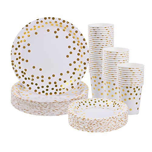 gold dot disposable paper plates and cups set for 50 disposable cups dinner plates