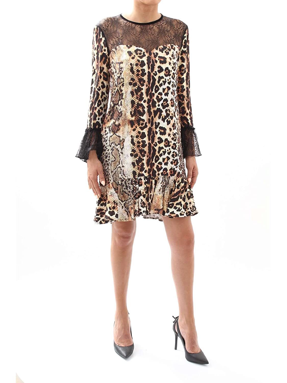 Natural Just Cavalli Womens Animal Print Lace Dress Dress