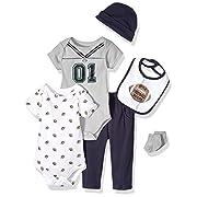 Little Treasure Unisex Baby Clothing Set, Football Jersey 6-Piece Set, 0-3 Months (3M)